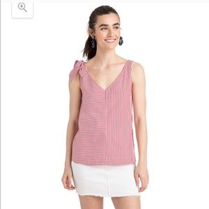 Vineyard Vines Taffy red and white stripe bow top
